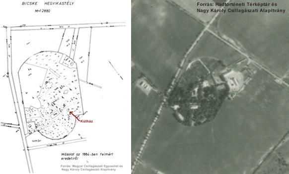A birtok 1884-es felmérése, illetve egy 1941-es felvétel – ekkor még állt a Hegyikastély.