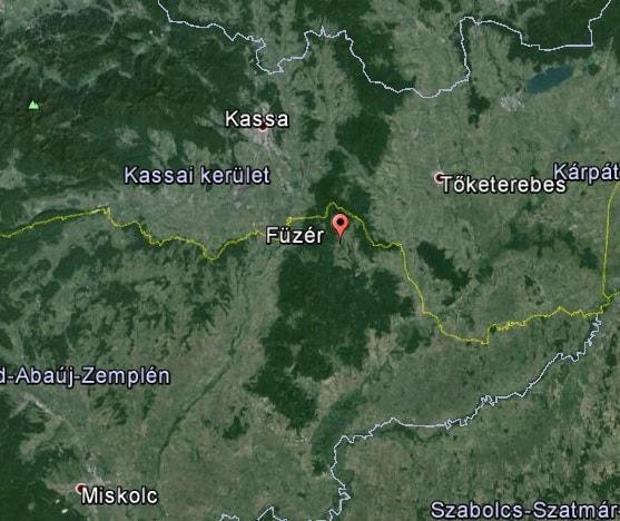 Füzér elhelyezkedése (Google Föld)
