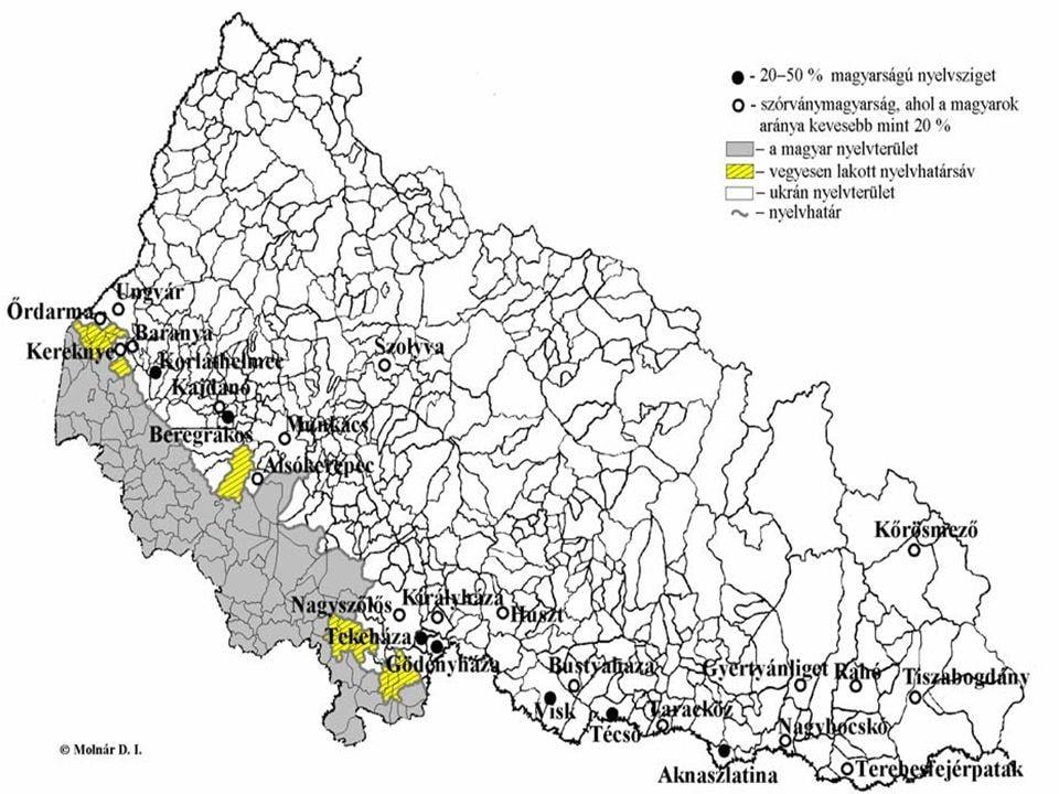 Forrás: Molnár D. István, Kárpátalja népessége és magyarsága a népszámlálási és népmozgalmi adatok tükrében. Beregszász, KMP TT, 2005.