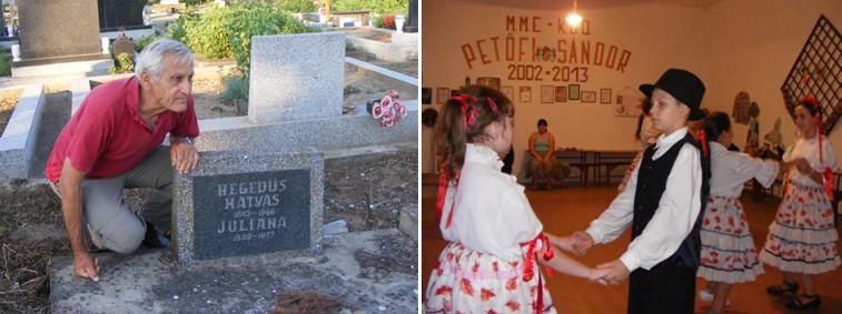 Hegedűs János nagyszülei sírjánál (b). A nyéki gyerekek egy szót sem értenek magyarul (j)