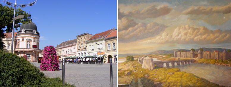Balra a mai, jobbra a feltételezett középkori Szerémvár, azaz Szávaszentdemeter