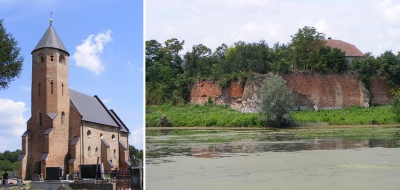 A maróti erődített templom (b) és a várrom (j)