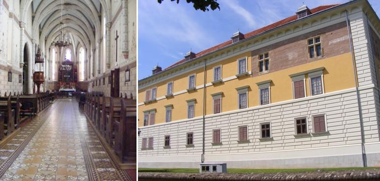 A templom belső, neogótikus hajója (b) - Az Odeschalchi-kastély klasszicista homlokzata mögött az Újlakiak reneszánsz palotája rejtőzik